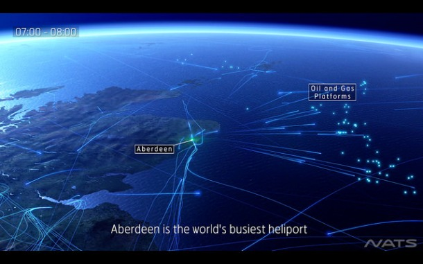 Data visualisation from NATS showing helicopter flights from Aberdeen airport to North Sea oil platforms. Credit: NATS Press Office