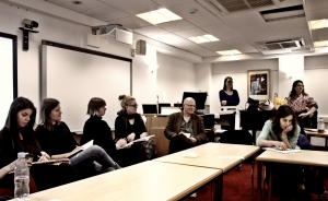 Workshop with Tanja Ostojic at the University of Aberdeen, Misplaced Women? Photo by Filip Barche.