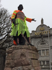 "Helen Schell, ""Guardian."" Look at Me - William Wallace, Rosemount Viaduct, Aberdeen, April 8-12. Part of the ""Look Again - Visual Art and Design Festival in Aberdeen. Photo by Amy Bryzgel"