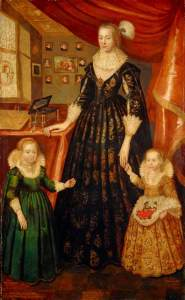 George Jamesone, 'Anne Countess of Rothes and her two Daughters', 1626. (c) National Galleries of Scotland; Supplied by The Public Catalogue Foundation