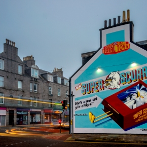 The Glöbel Brother's mural of Aberdeen's greatestenemy